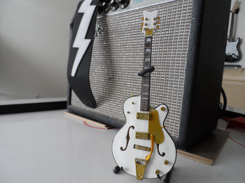 BRIAN SETZER- White Hollow Body Gretsch 1:4 Scale Replica Guitar ~Axe Heaven
