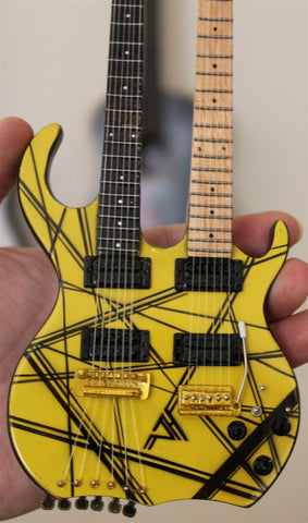EDDIE VAN HALEN -Kramer Yellow/Black Double-Neck 1:4 Scale Replica Guitar