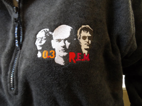 R.E.M. - 2003 Tour Embroidered Fleece Jacket Half Zip ~BRAND NEW~ M