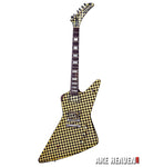 RICK NIELSEN-Yellow/Black Checkered Explorer 1:4 Scale Replica Guitar~Axe Heaven