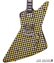 Load image into Gallery viewer, RICK NIELSEN-Yellow/Black Checkered Explorer 1:4 Scale Replica Guitar~Axe Heaven