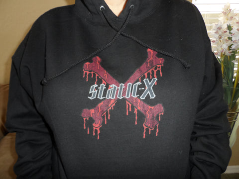 STATIC-X - Distressed Skull & Crossbone Pullover Hoodie w/ Drawstring ~NEW~ M