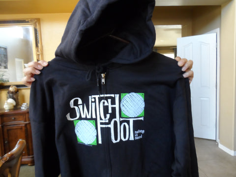 SWITCHFOOT -2005 Nothing Is Sound Full Zip Up Black Hoodie w/ Drawstring ~NEW~ L