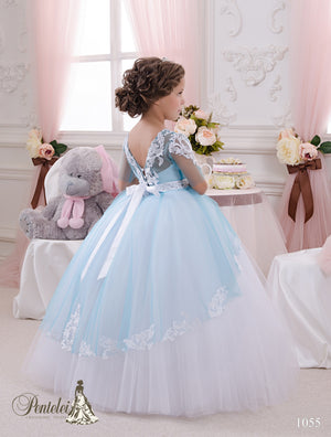 Short Sleeve Tulle Ball First Communion Dress Pentelei 1055
