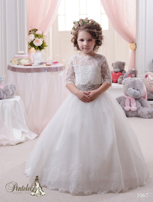 Pentelei 1067 Tulle and lace Skirt 3/4 Sleeves Pink Belt Ball Gown First Communion Dress