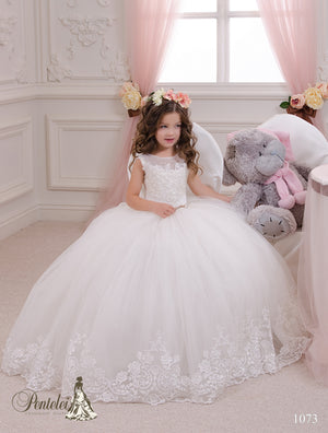 Ready to Ship  First Communion Tulle and Embroider Ball Dress Pentelei 1073 Size 10