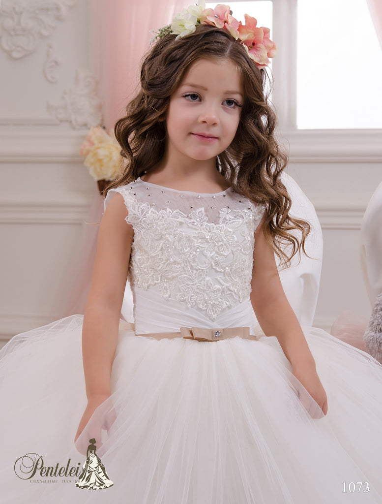 First Communion Tulle and Embroider Ball Dress Pentelei 1073