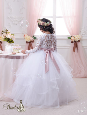 Pentelei 1105 Multi-tiered Tulle Skirt Long Sleeves Pink Belt Ball First Communion Gown