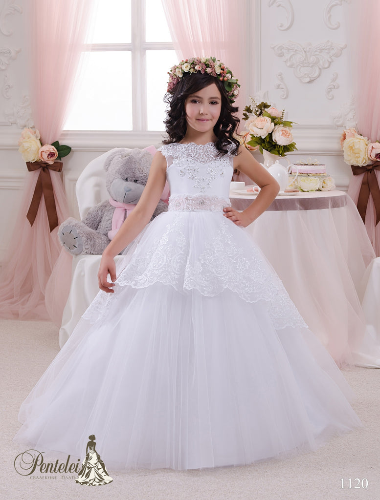 Pentelei 1120  Tulle and lace  Skirt Short  Sleeves Pink Belt Ball First Communion Dress