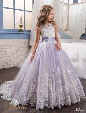 Authentic Pentelei 1503 Magical Lace and Tulle Two Color Flower Girl Dress