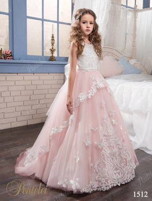 Pentelei 1512 Blush White Tulle Appliques Cascading Skirt Flower Girl Gown