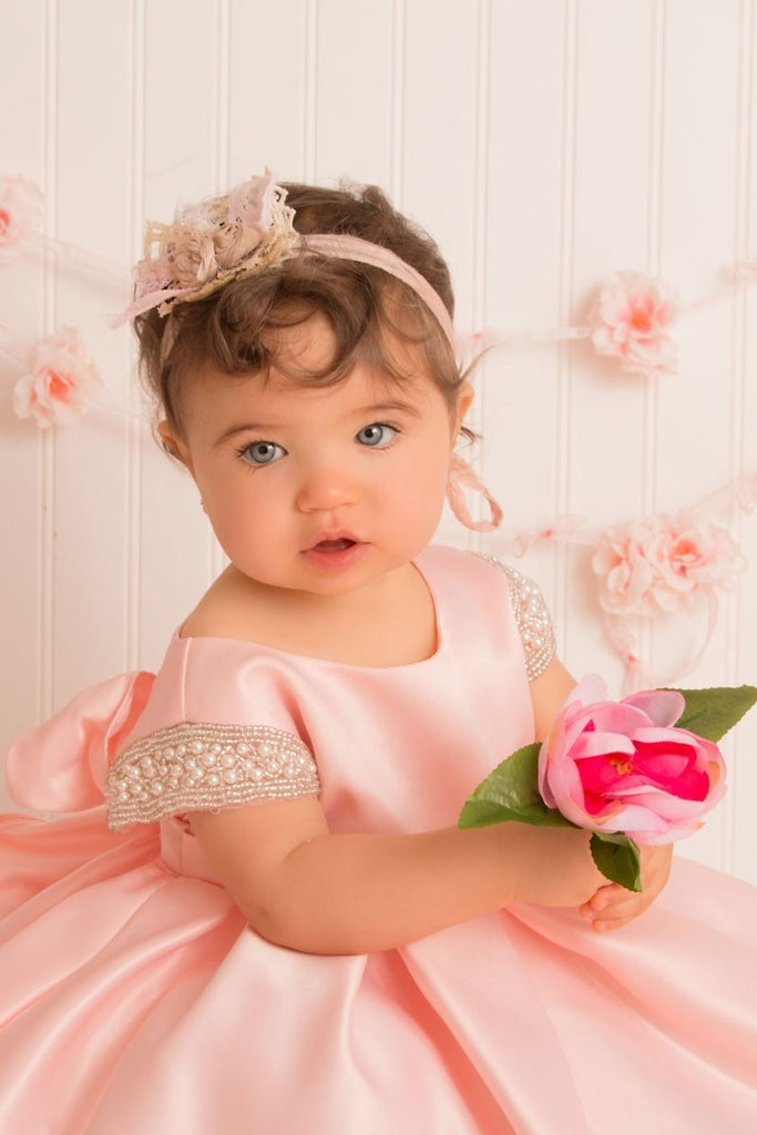 Satin Dress Beaded Short Sleeves Baby Dress