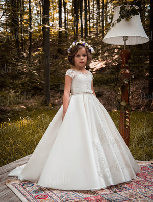 Short Sleeves Beaded Satin First Communion Flower Girl Dress Pentelei 2118