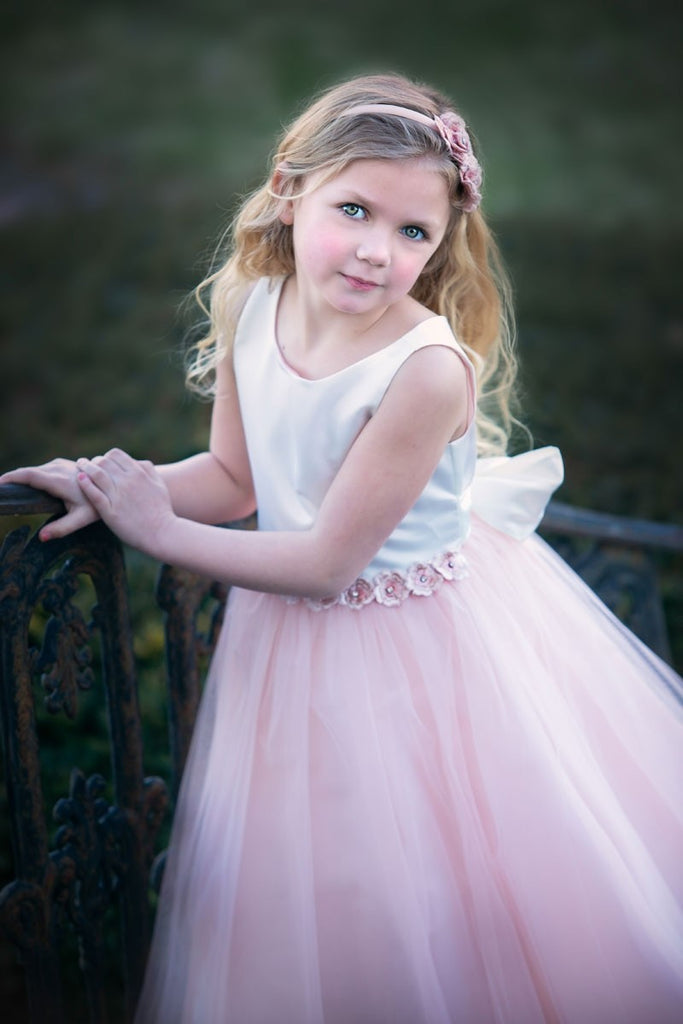 Satin and Tulle Two-Ton Flower Elegant Girl Dress