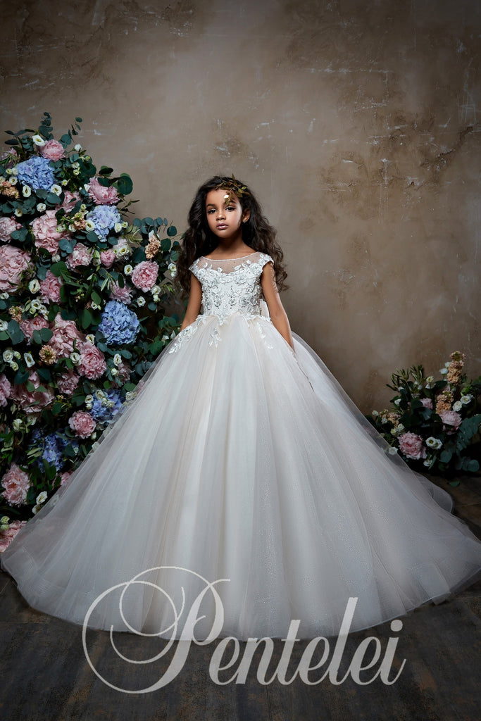 First Communion Dress Pentelei 2305 Ball Gown Short Sleeves 3-D Flowers.