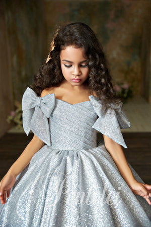 Pentelei 2311 Shiny Flower Girl Children Ball Gown.