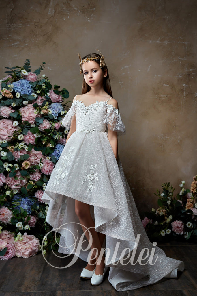 Off the Shoulders Sleeves Asymmetric Flower Girl Dress 2313