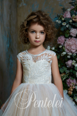 Botanical Ball Gown Cape Flower Girl Pentelei 2314