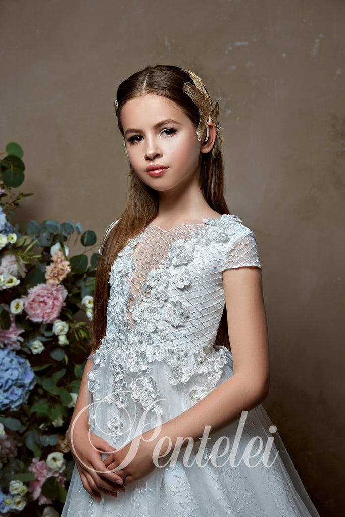 Communion 3D Flowers Appliqués on Top Sequin Tulle Skirt A-line Dress 2330