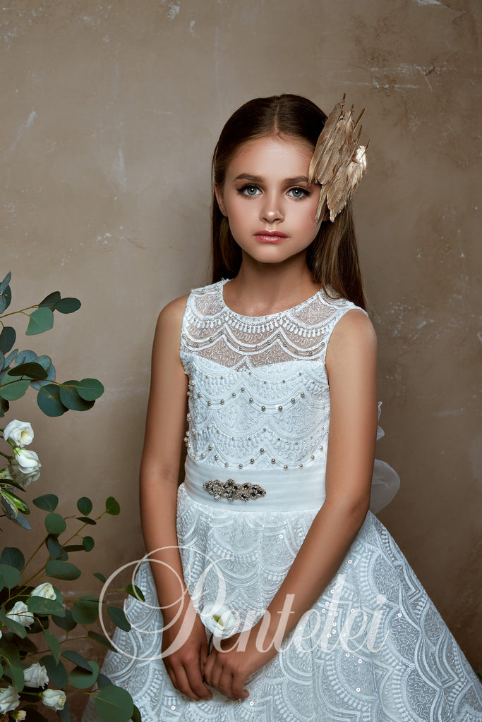 A-line Luxurious Lace Keyhole Back Communion Flower Girl Pentelei 2331