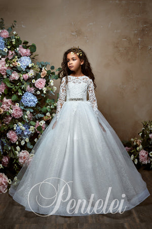 Long Sleeves Tulle Ball Gown Communion Flower Girl Dress Pentelei 2332