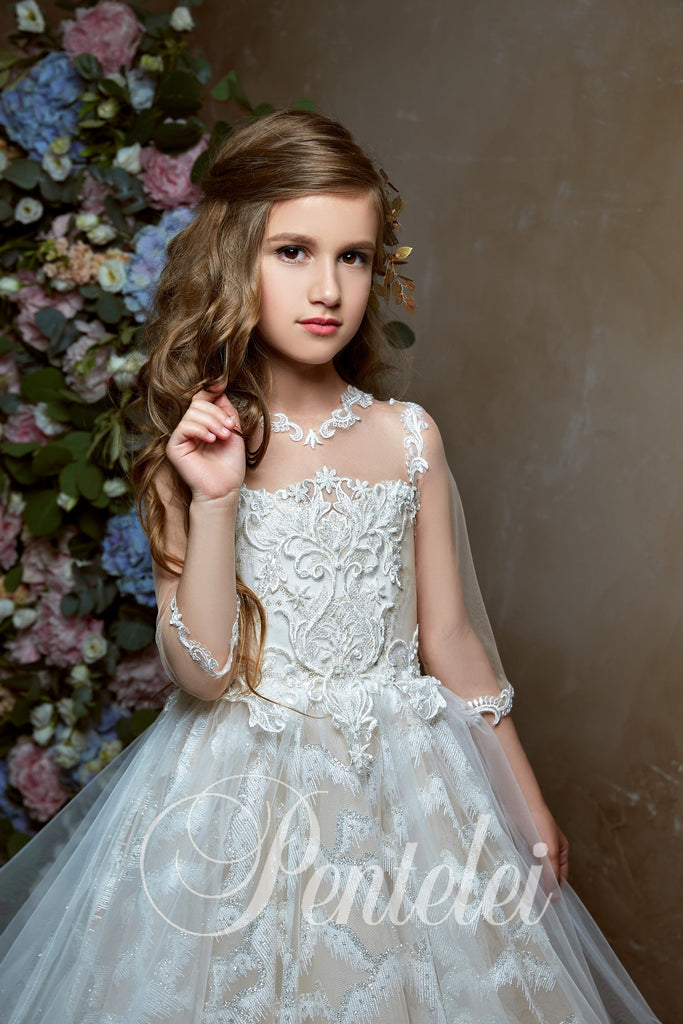 3/4 Sleeves Glitter Tulle Satin First Communion Flower Girl Pentelei 2340