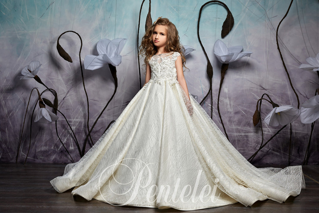 Cape Sleeves  Satin and sequence glitter tulle Children Princess Gown Pentelei 2357