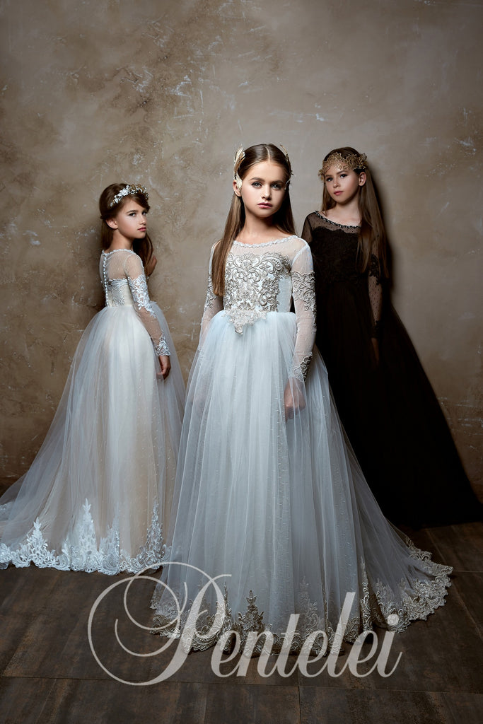 Chic Long Sleeve Lace Appliques Communion Flower Girl Gown 2358