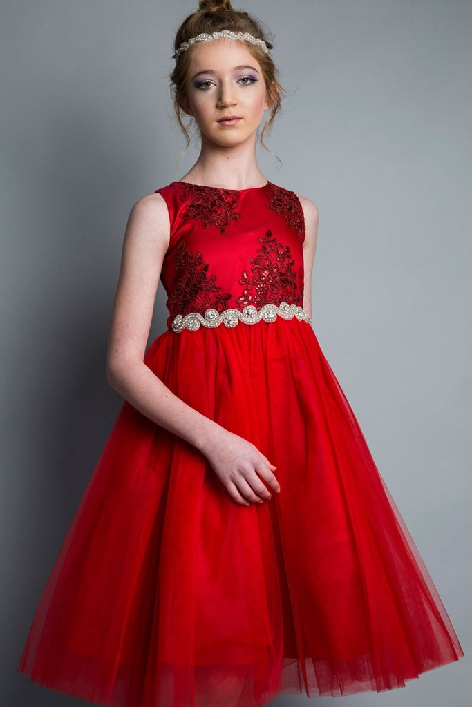 Embroider and Sequined Top and Tulle Skirt Girl Dress