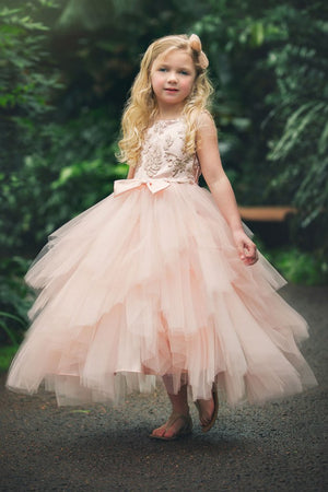 Stunning Multiple Tiered Skirt with Sequined Top Girl Dress