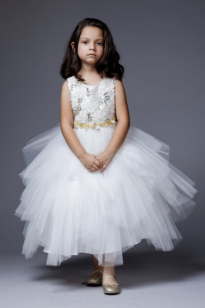 Multi tiered Skirt with Sequined Top Flower Girl Dress