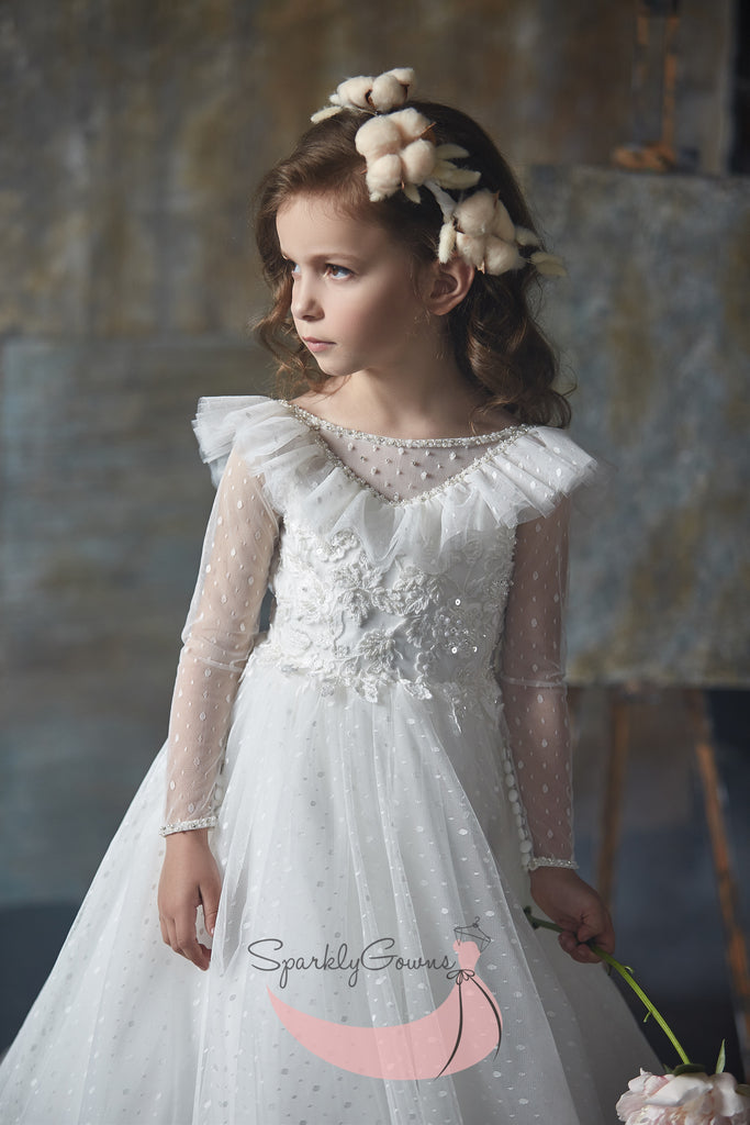 Ruffles Long Sleeve First Communion Flower Girl Dress 3002