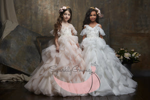 Cold Shoulder Angel Sleeves Ruffle Communion Flower Girl Gown 3005