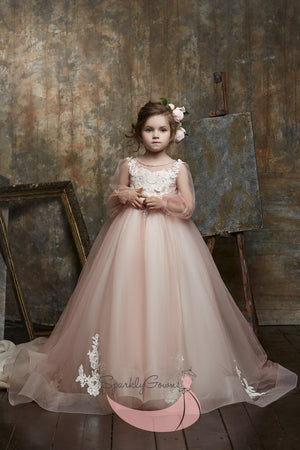 Long Sleeves  A-line Flower Girl Dress 3023