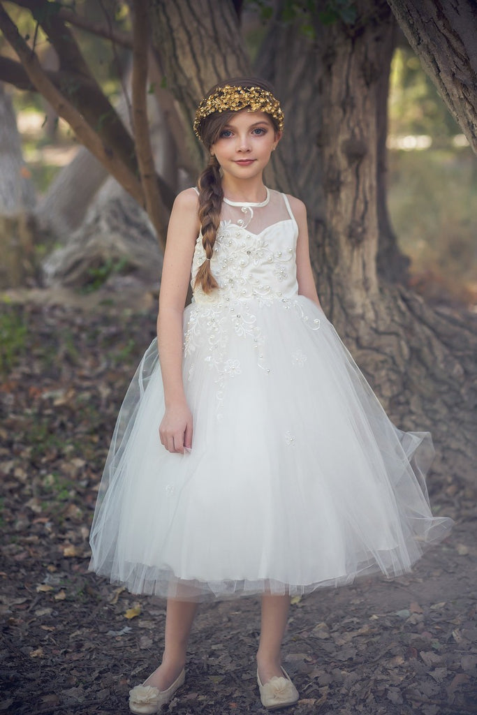 Delicate Tulle Illusion Dress, perfect Communion dress or Flower girl dress