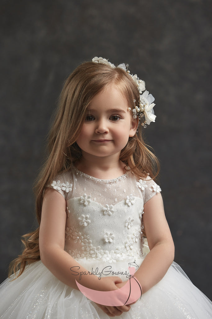 Mini-Sleeves Sparkle Multi-Tiered Tulle Ball Gown Communion Flower Girl Dress 3038