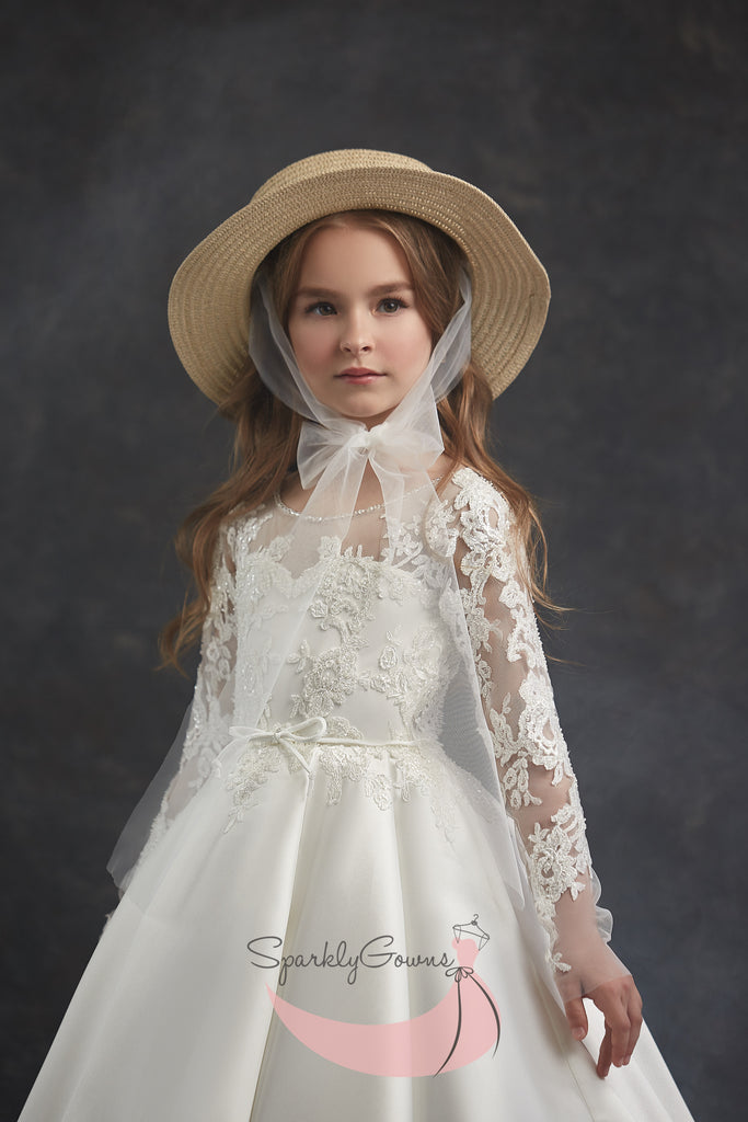 Long Sleeves  Open Back Flower Girl First Communion Dress 3041
