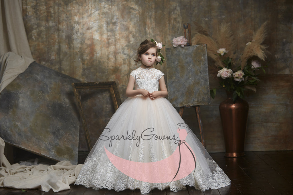 High Neck Lace and Tulle BallGown  First Communion Flower Girl Dress 3047