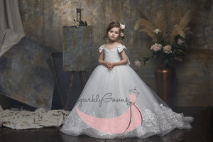 Off-the-shoulder  Sparkle Tulle First Communion Flower Girl Dress 3054