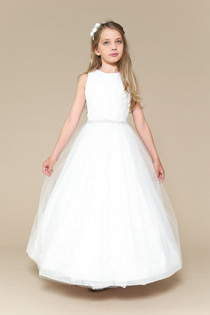 Glittery Dress with Jewel Belt First Communion Ivy Dress 307