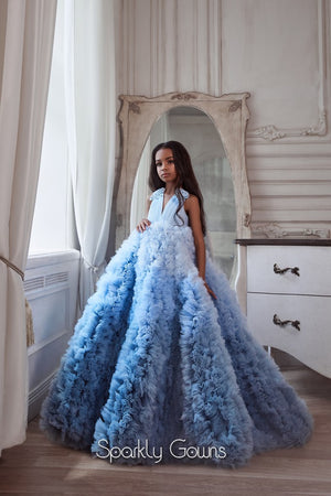 Ruffles Ombré  Ball Gown Princess Flower Girl Communion Dress Celestial Pentelei 3103