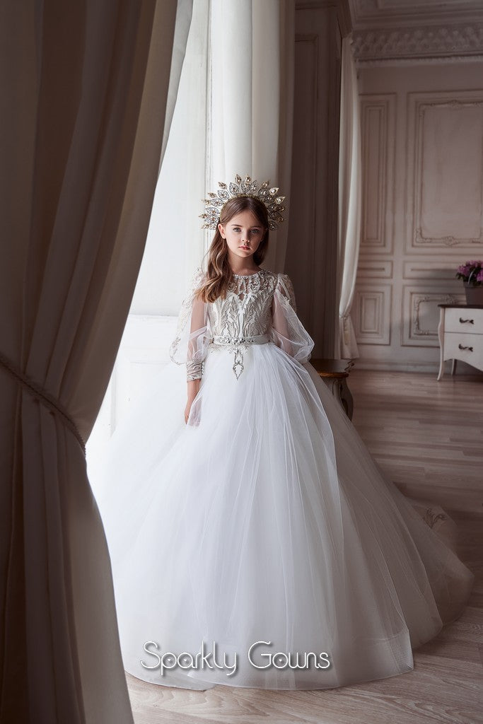 Keyhole Back Bishop  Sleeves Lace Appliques A-line  Flower Girl Communion Gown Celestial Pentelei 3120