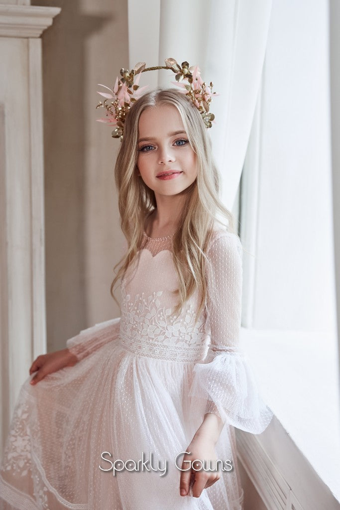 Long Sleeves Flower Girl Dresses