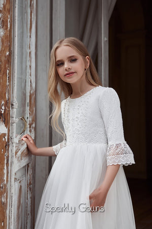 French Sleeves Boho Chic Communion Flower Girl Celestial Pentelei 3135
