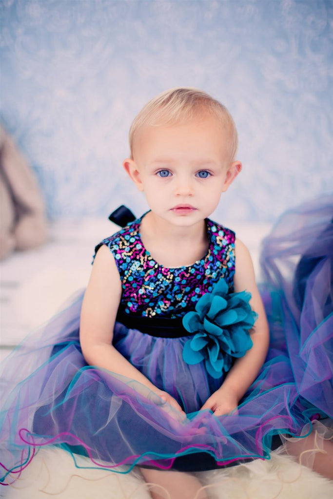 Sequin Top Layered Tulle Tricolor Baby Dress