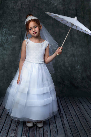Fan Shape Satin and Organza Design Communion Dress Style 360