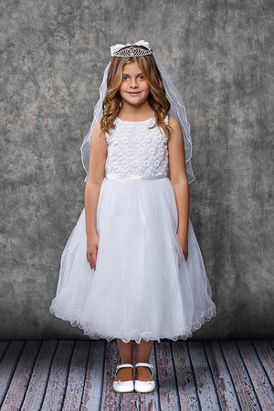 Flower Embroidered First Communion Tulle Dress Style 368