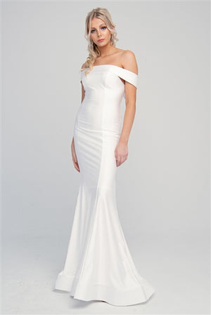 Copy of Off-the-Shoulders Satin Fitted Evening White Dress AC373