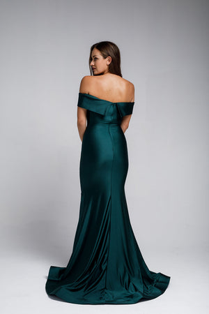 Off-the-Shoulders Satin Fitted Navy Evening Dress AC373
