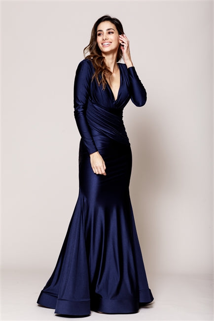 Navy Long Sleeves Dresses 381